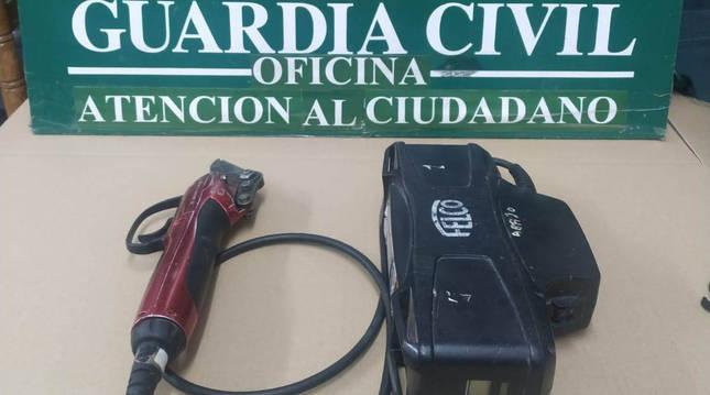 Foto de herramientas agrícolas recuperadas por la Guardia Civil tras haber sido robadas en un almacén de Andosilla (Navarra).