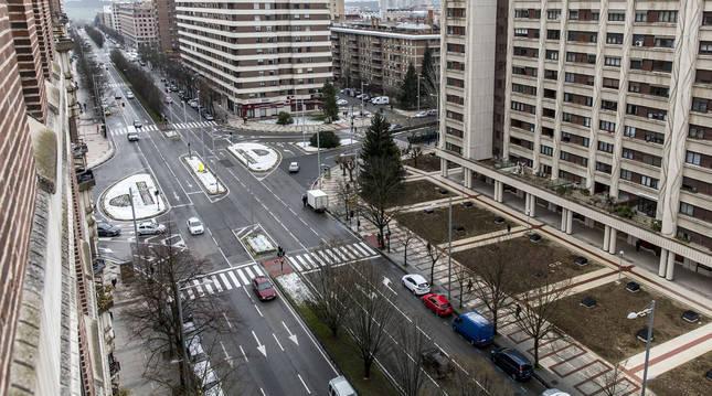 Vista panorámica de la avenida Pío XII de Pamplona, en una fotografía de 2018.
