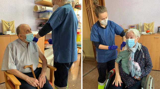 Foto de Miguel Migueltorena y Maruja Ciriza reciben la primera dosis de la vacuna en la residencia Francisco Joaquín Iriarte, de Elizondo.