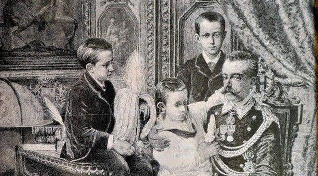 Amadeo con sus hijos, obra   de Giacomo Di Chirico fechada en 1880.