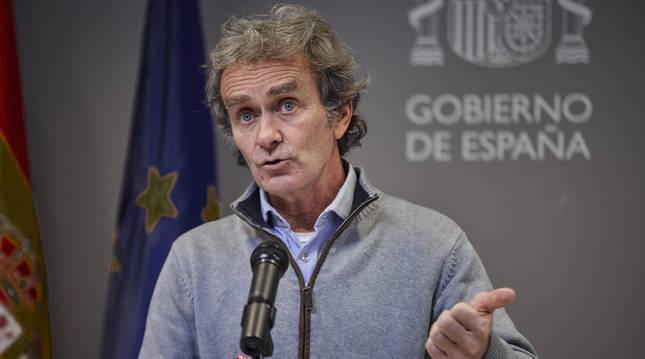 Foto de Fernando Simón, en su comparecencia ante la prensa.