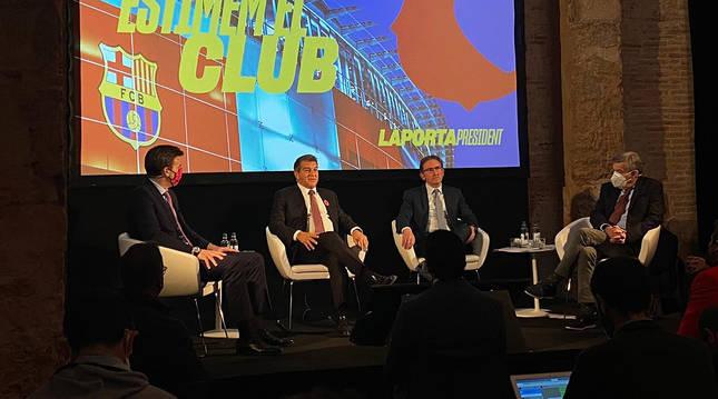 Rueda de prensa de 'Estimem el Barça', precandidatura del precandidato a presidente del FC Barcelona Jaan Laporta