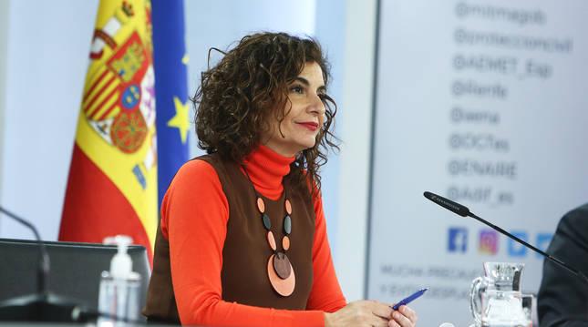 La ministra portavoz, Maria Jesús Montero, en una rueda de prensa anterior.