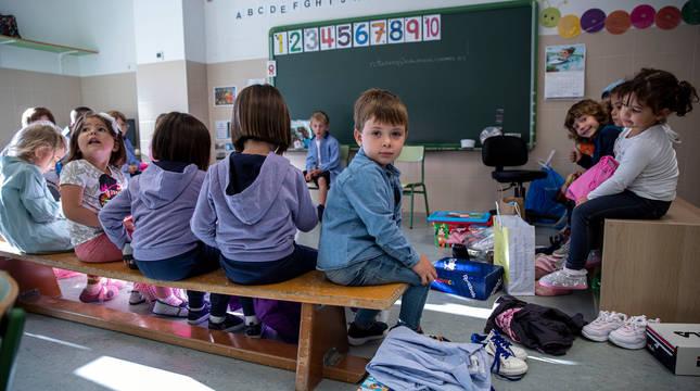 Alumnos del colegio San Miguel de Noáin.