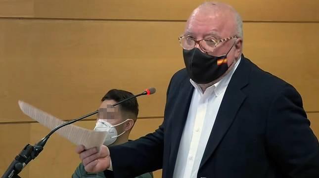 Captura de vídeo de la señal institucional del TSJ, durante la declaración del excomisario José Villarejo este viernes.