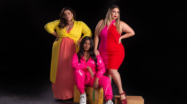 Fotografía promocional cedida por E! Entertainment donde aparecen las modelos brasileñas de talla Extra Grande (XL) Mayara Russi (i), Nahuane Drumond (c) y Fluvia Lacerda (d).