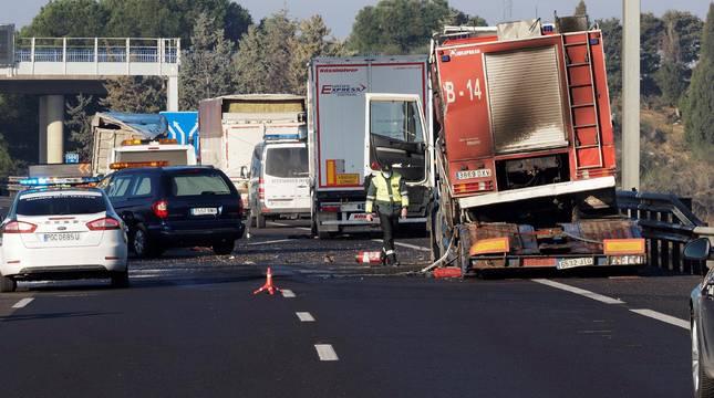 Uno de los camiones implicados en el accidente.