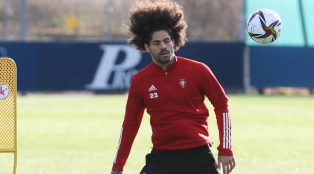 Aridane, en un entrenamiento en Tajonar.