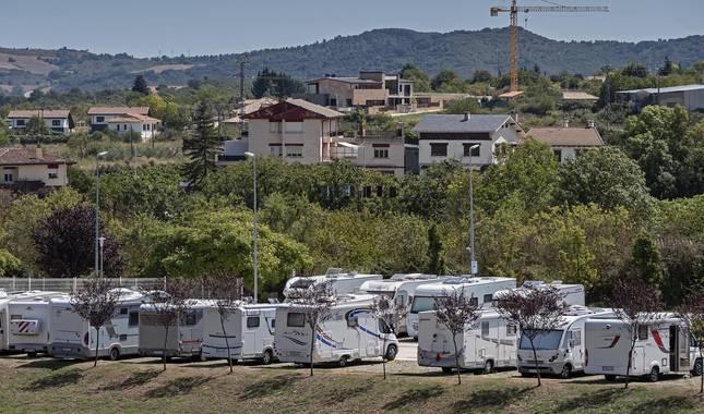 Foto del área de autocaravanas en Ayegui (Navarra).