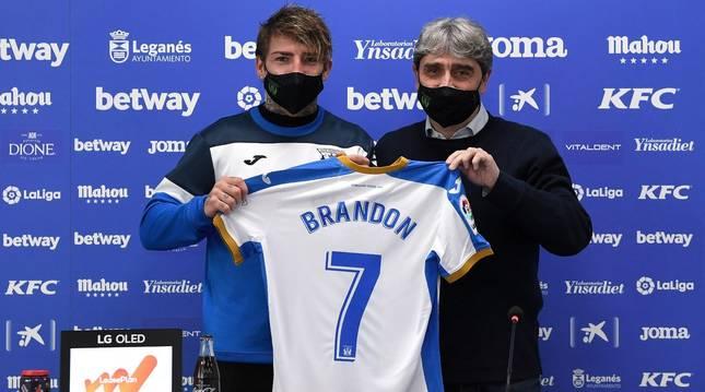Brandon Thomas, en su presentación como jugador del Leganés.