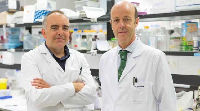 Foto de los doctores Xabier Agirre y Felipe Prosper (CIMA).