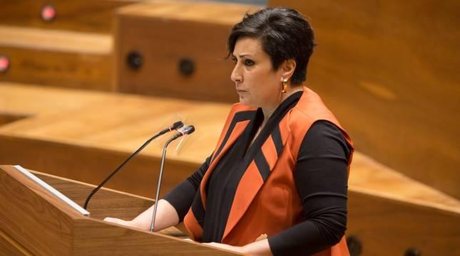 La parlamentaria de Geroa Bai María Solana interviene en el pleno de este jueves.
