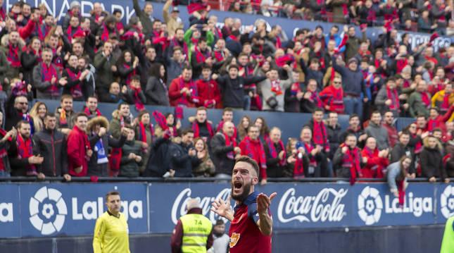 Roberto Torres celebra el 1-0 frente al Espanyol de la temporada 2019-20.