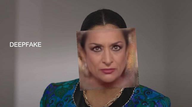 Captura del montaje de la actriz con la imagen de Lola Flores superpuesta para el anuncio.
