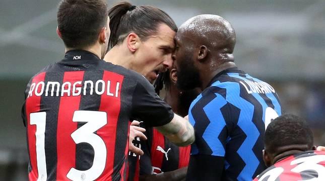 Ibrahimovic y Lukaku, en el partido de Copa de Italia entre Milan e Inter