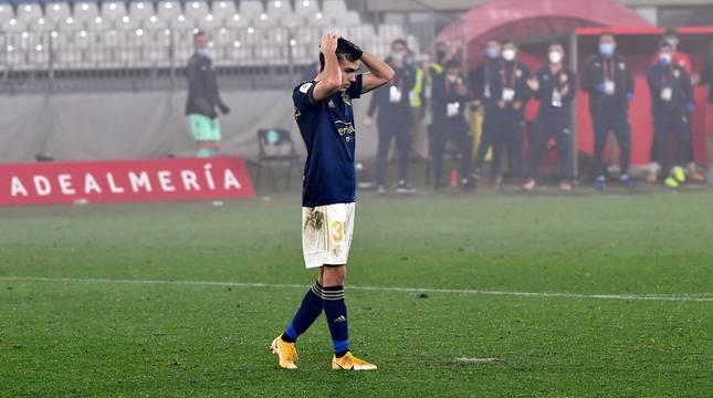 Manu Sánchez, tras fallar el penalti en la tanda.