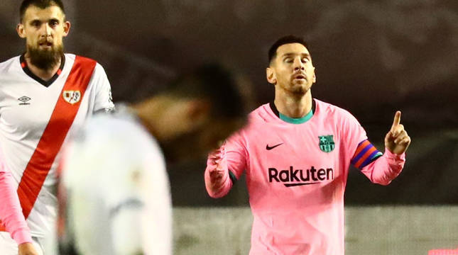 Messi celebra el gol del empate.