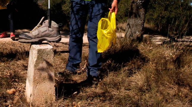 Una persona recoge basura en el Camino de Santiago.