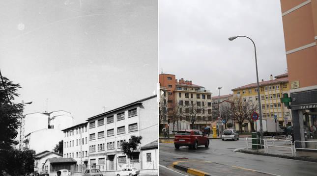 Foto de la avenida de Villava, en 1975 y en la actualidad.