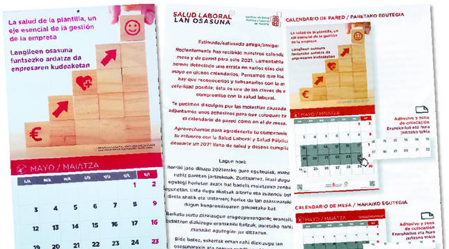 Calendario repartido por el Gobierno de Navarra.