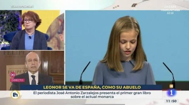 El rótulo sobreimpreso, en una captura de TVE.