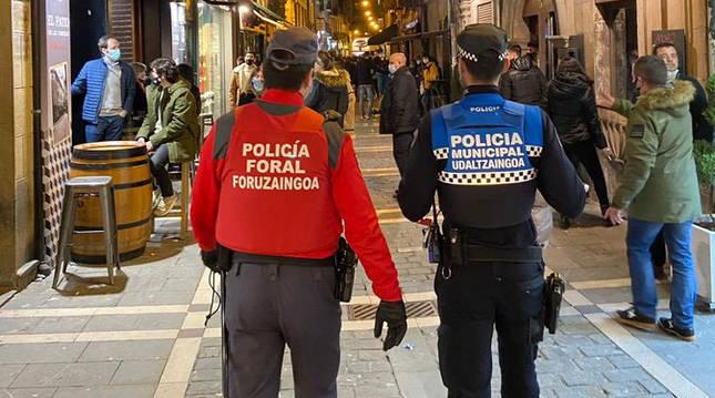 Operativo conjunto establecido por Policía Municipal de Pamplona y Policía Foral.