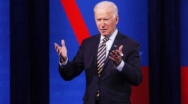 Joe Biden, en el acto con votantes organizado por la CNN en Milwaukee.