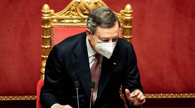 Mario Draghi, este miércoles en el Senado.