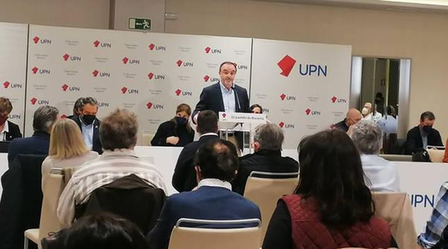 Javier Esparza, durante su discurso en la apertura del Consejo Político de UPN.