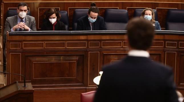 Sánchez e Iglesias, en la última sesión de control al Gobierno.