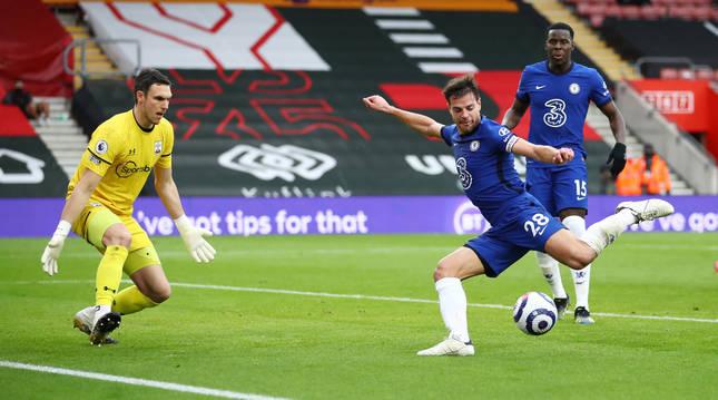 Foto de César Azpilicueta, en el partido del Chelsea contra Southampton, este fin de semana.