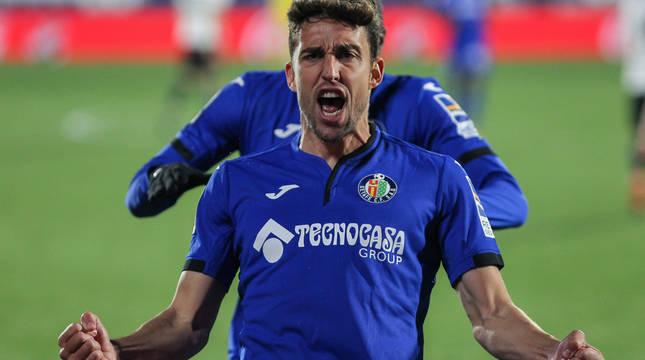 Jaime Mata celebra el segundo gol del Getafe.