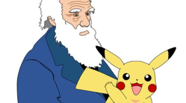 Pikachu en brazos de Darwin.