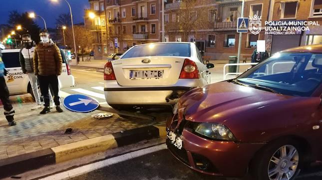 Accidente entre dos coches en Pamplona, el pasado fin de semana