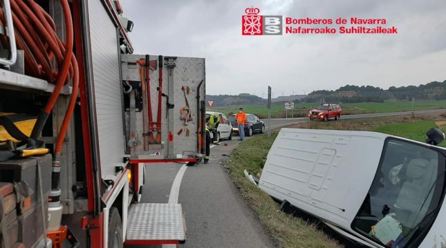 Tres heridos, uno con pronóstico reservado, en un accidente en Tudela