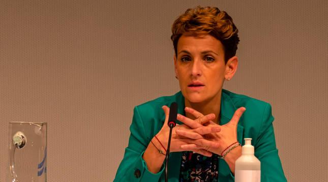 Foto de la presidenta del Gobierno de Navarra, María Chivite, durante el encuentro con los representantes municipales de Tierra Estella.