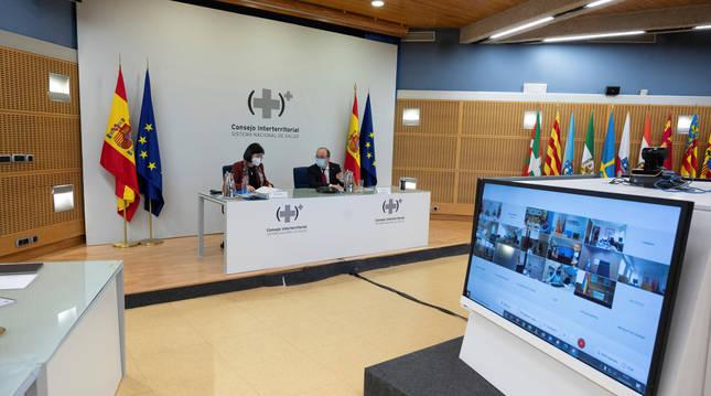 Carolina Darias y Miquel Iceta han presidido por videoconferencia la reunión del Consejo Interterritorial del Sistema Nacional de Salud.