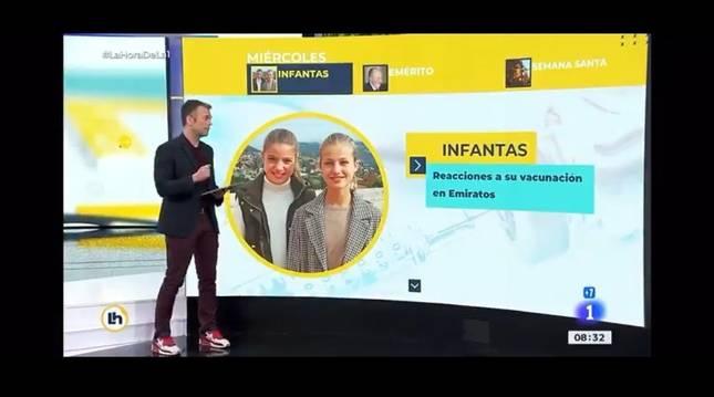 Momento en el que el periodista Igor Gómez explica la noticia de la vacunación de las infantas Elena y Cristina con la imagen de la princesa Leonor y la infanta Sofía.