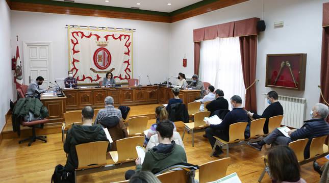 Asistentes en el salón de plenos del Ayuntamiento de Sangüesa durante la presentación del estudio.