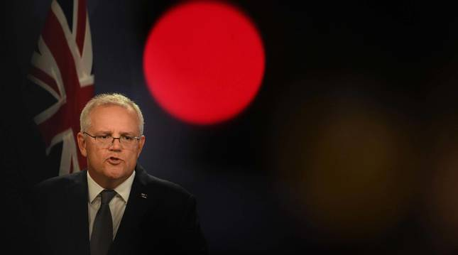 El primer ministros australiano, Scott Morrison, en rueda de prensa por el bloqueo de Italia.