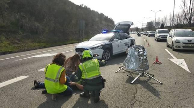 Accidente de moto en Sarriguren.