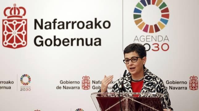 La ministra de Asuntos Exteriores, Unión Europea y Cooperación, Arancha González Laya, durante su intervención en un acto en Pamplona.