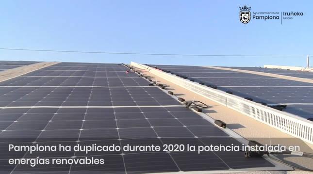 Instalación eléctrica de paneles solares del Ayuntamiento de Pamplona.