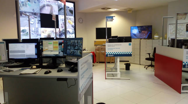 Imagen de la sala de control de Policía Municipal de Pamplona.