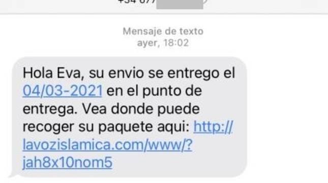 Imagen de un sms falso con en enlace al virus.