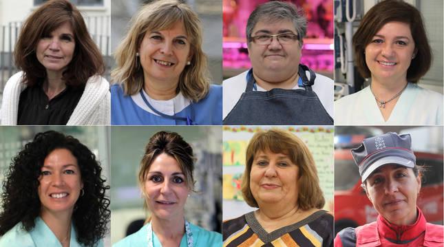 Pili Gallart, Isabel Cárdenas, Juana Mari Maestre, Ana Tellería, Nuria Almagro, Marga Ibáñez, Rosa Mary Sánchez y Vanessa Álvarez.