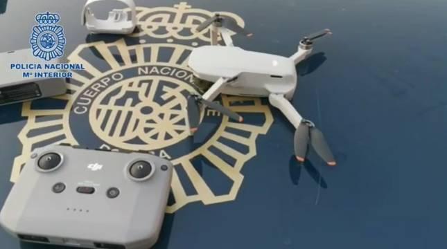 Imagen del dron interceptado por la Policía Nacional el sábado en Madrid.