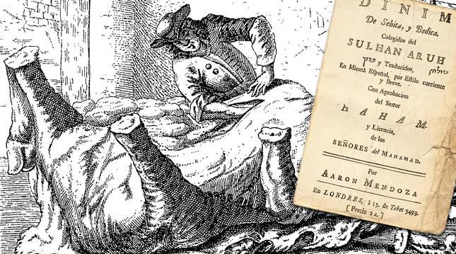 Dibujo de Aarón Mendoza y portada de su manual para matarifes, 1733. ccpd