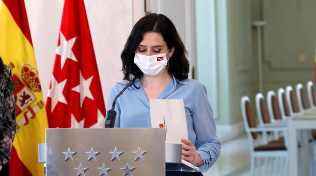 La presidenta de la Comunidad de Madrid, Isabel Díaz Ayuso, durante la comparecencia de este miércoles.