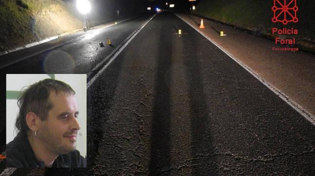 Imagen de Francisco Javier Balda sobre el lugar del accidente señalizado por la Policía Foral.